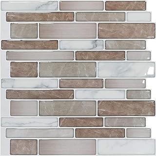 "Art3d 10-Sheet Premium Stick On Kitchen Backsplash Tiles, 12""x12"" Peel and Stick Self Adhesive Bathroom 3D Wall Tiles, Marble Design"