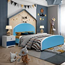 Costzon Toddler Bed, Twin Size Upholstered Platform Bed W/Wood Bedframe Cylindrical Feet for Kids Boys & Girls, Children Classic Sleeping Bedroom Furniture (Baby Blue)