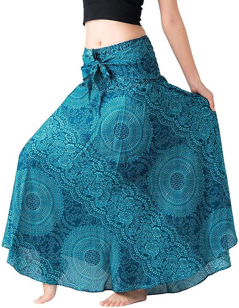 Aritone - women clothes Womens 2 In 1 Bohemian Maxi Skirt Dress, Gypsy Waist Travel Beach Skirt