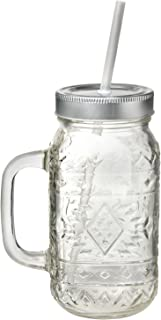Amici Home 7CYC008S6R Santa Fe Mason Jar Glass Drinkware, 24 Oz, Clear