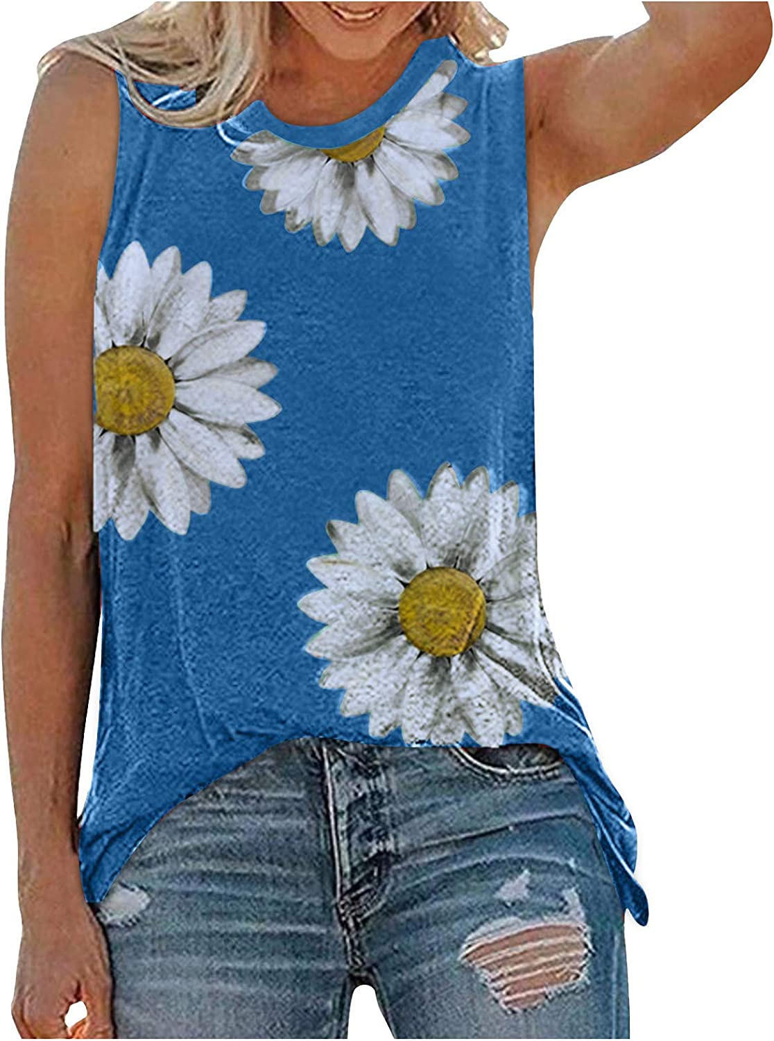 Gerichy Summer Tank Tops for Women, Womens Summer Tops Casual Graphic Tank Tops Loose Fit Sleeveless Tee Shirts Tops