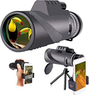 Monocular Telescope with Smartphone Holder & Tripod Dual Focus monocular Binoculars Night Vision Waterproof Hiking Camping...