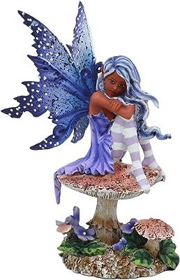 "Ebros Amy Brown Art Manga Violet Tribal Ebony Fairy Collectible Statue As Fantasy Faerie Magic Sculpture Or Desk Shelf Centerpiece Figurine Or Mini Fairy Garden Accessory 6.5"" Tall"