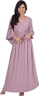 Womens Long Elegant V-Neck Batwing Sleeve Cocktail Kaftan Maxi Dress