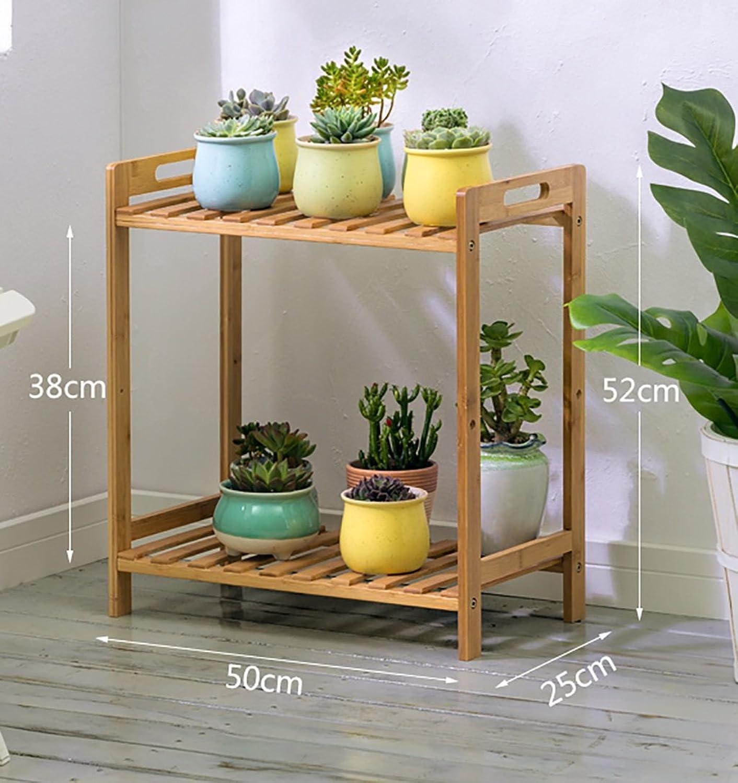 DNSJB Flower Shelf, Folding Bamboo Frame greenical Flower Rack, Display Ladder Frame Outdoor Indoor (Size   50  25  52cm)