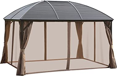 Outsunny 10' x 13' Aluminum Frame Hardtop Patio Gazebo Outdoor Canopy with Mesh Nettings, Practical Curtains, Arc Roo