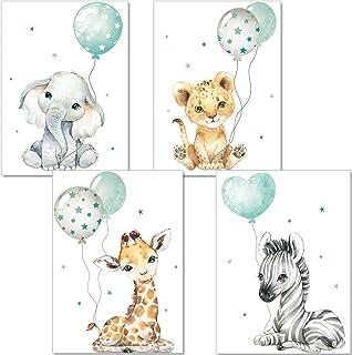 artpin® Affiche décorative pour chambre d'enfant - Tableaux chambre d'enfant vert-gris menthe pour Garçon filles - Safari ...