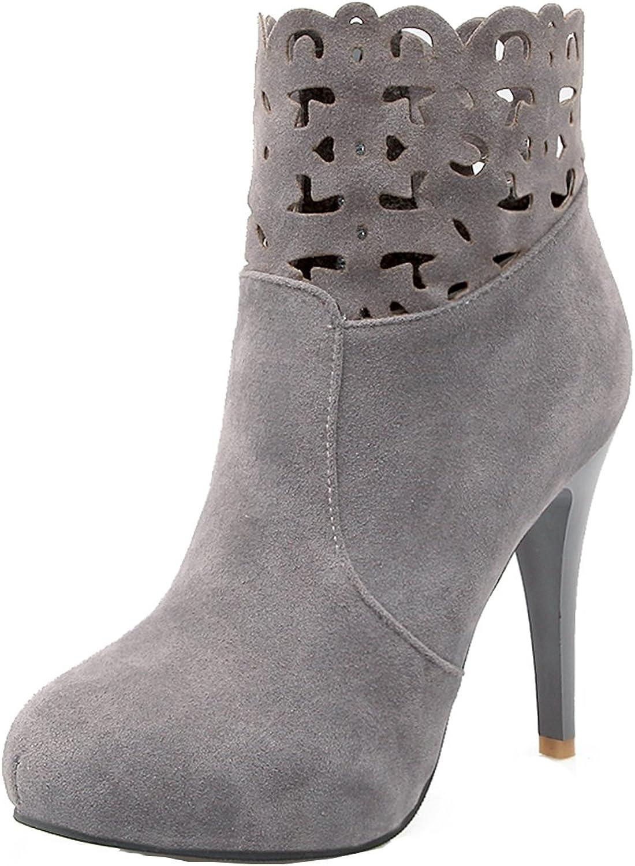 AIYOUMEI Women's Suede Round Toe Side Zipper Stiletto High Heels Autumn Winter Ankle Boots
