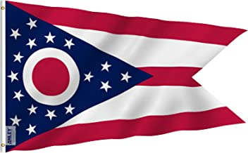 Anley Fly Breeze 3x5 Foot Ohio State Polyester Flag - Vivid Color and UV Fade Resistant - Canvas Header and Double Stitched - Ohio OH State Flags with Brass Grommets 3 X 5 Ft