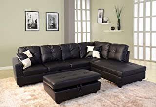 FlashBuy Sofa Sectional Sofa, L-Shape Faux Leather Sectional Sofa Couch Set with Chaise, Ottoman, 2 Toss Pillow Using for Living Room Furniture.(Black)