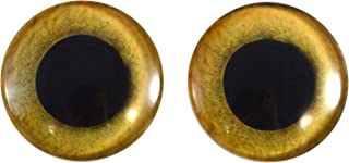 30mm Yellow Owl Bird Glass Eyes Realistic Pair for Art Dolls, Sculptures, Props, Masks, Fursuits, Jewelry Making, Taxidermy, and More