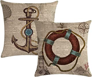 7COLORROOM Set of 2 Vintage Sea Theme Pillow Covers with Nautical & Ocean Style Life Buoy& Anchor Pattern Cushion Covers B...