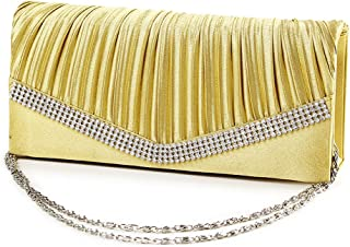 IPOTCH Women Satin Crystal Floral Evening Prom Clutch Bag Wedding Bridal Handbag Purse - Gold, as described