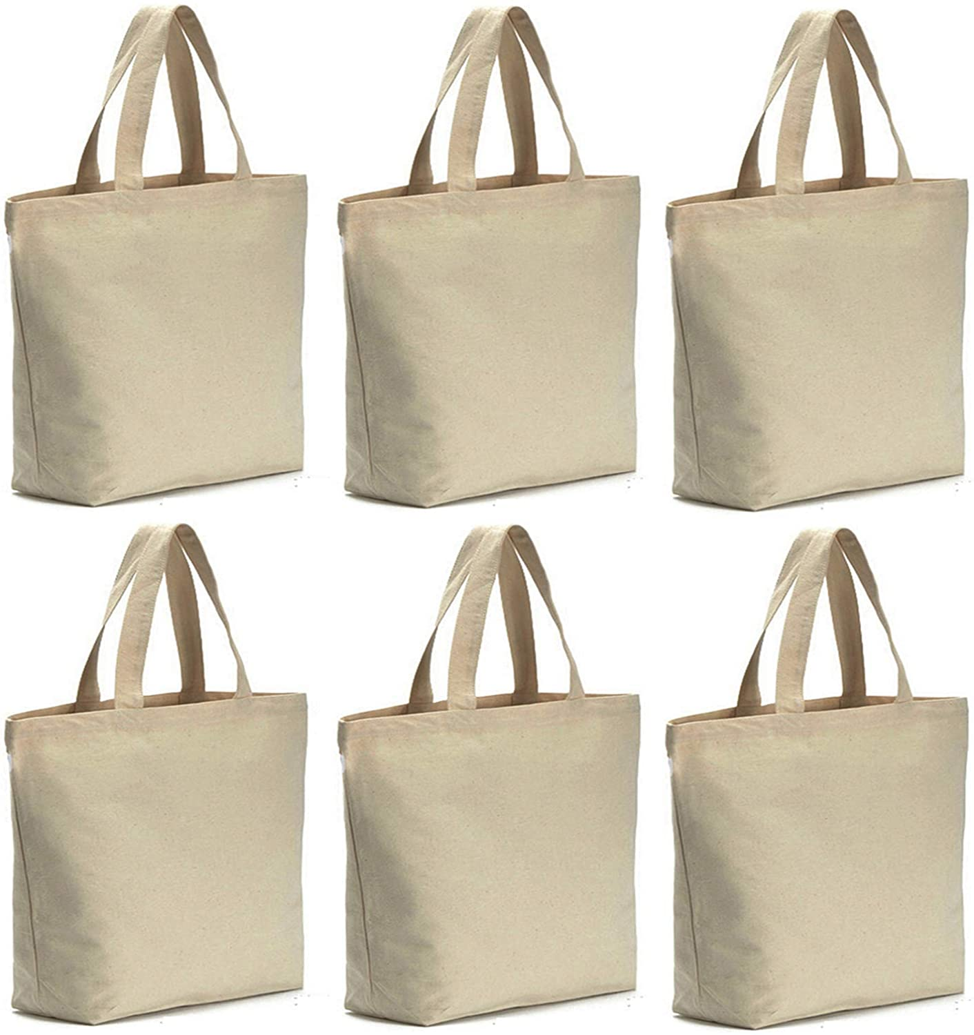 6 Pcs Canvas Tote Bag Washable wi Large-scale sale Bottom Grocery Austin Mall Gusset