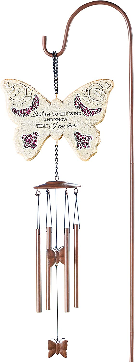 Collections Etc Listen to The Wind Butterfly Memorial Wind Chime Garden Stake - Resin, Iron, Chimes - Shepherd's Hook Included