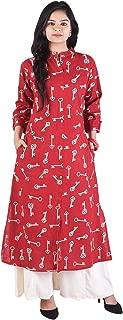 OM KALYANAM Rayon Key Print Red-Off-White Women's Kurti