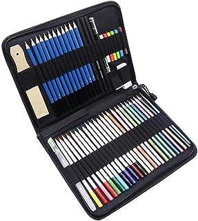 51-Piece d Pencils Set Drawing Pencils and Sketch Kit Includes Metallic Color Pencils Water-soluble Color Pencils Sketch C...