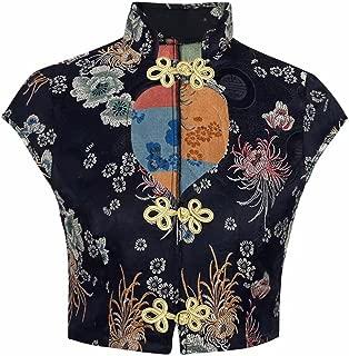 Xshigong Women Sexy Deep V-Neck Cheongsam Pankou Embroidery Casual Crop Top T-Shirt