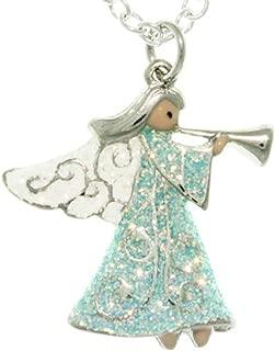 Sparkling Angel With Trumpet Enamel Pendant 18