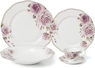 Royalty Porcelain 5-pc Dinner Set for 1, 24K Gold, Premium Bone China (Pink Rose)