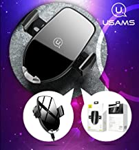 USAMS Wireless Car Charger Mount with USB Quick Charger - Automatic Universal 360 Degree Rotating Qi Air Vent Mobile Phone Chargers - Fast Charging Cellphone Holder for iPhone X, XS, Samsung Galaxy