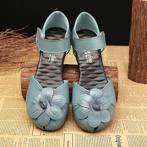 PINGXIANNVSandales Les Les dames Sandales Femme en Cuir Sabot Sabot Talons Fleurs Les Les dames Sandales Chaussures Décontractées Nouvel été Bouche De Poisson Couleur Pure de Haute Qualité  80% de réduction