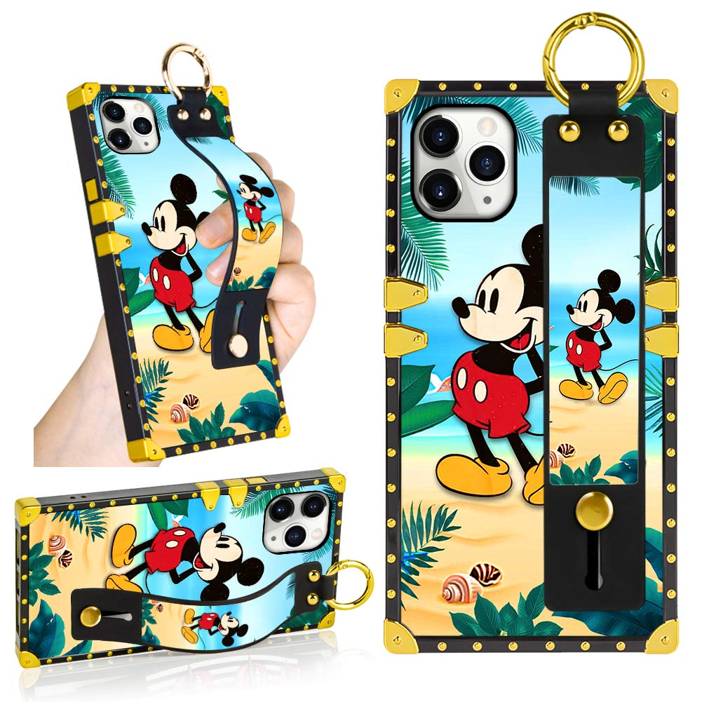 DISNEY COLLECTION iPhone 11 Pro Max Case, Mickey Mouse Palm Tree Wrist Strap Band with Kickstand Luxury Square Shockproof Protective Phone Case for iPhone 11 Pro Max 6.5 Inch 2019