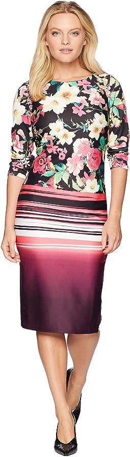 3/4 Sleeve Floral Stripe Printed Midi Scuba Dress