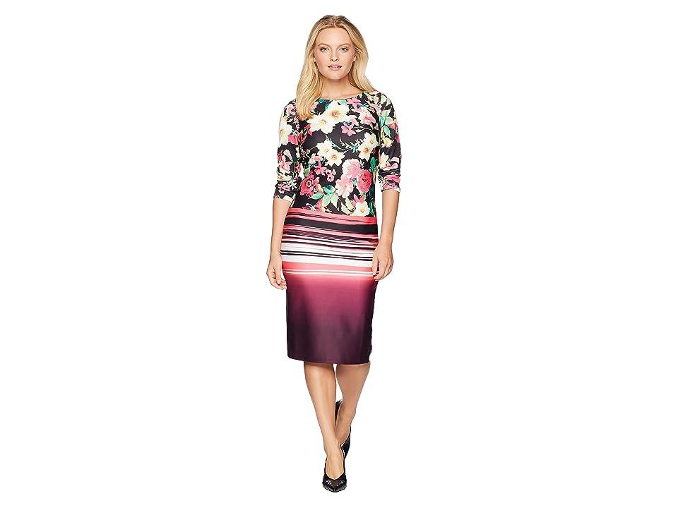 eci 3/4 Sleeve Floral Stripe Printed Midi Scuba Dress (Black/Pink) Women