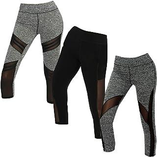 C Crush 3 Pack Mesh Insert Capri Leggings for Women Yoga Pants