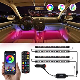 Interior Car Lights, TATUFY Car LED Strip Lights, 4pcs 48 LED DC 12V Interior Car Lights Bluetooth App Control Lighting Kits Multi Color Music with Car Charger Sound Active Function for Smart Phone