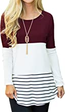 Sherosa Women's Casual Color Block Lace Inset Long Sleeve T Shirt Tunic Tops