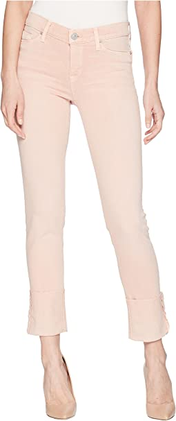 Tally Deep Cuff Crop Skinny Jeans in Worn Rosewater