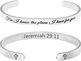 MEMGIFT Gifts for Her Religious Bracelet Christian Jewelry Scripture Bible Verse Engraved Cuff Bangle for I Know The Plans I Have for You Jeremiah 29:11
