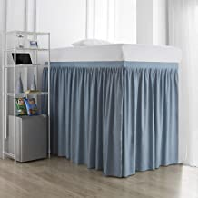 Extended Dorm Sized Bed Skirt Panel with Ties (3 Panel Set) - Smoke Blue (for Raised or lofted beds)