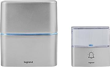 Legrand, 094271 Draadloze belset, werkt op batterijen, met MP3-functie, 1 x waterdichte belknop (IP54), 1 x gong met 30 me...
