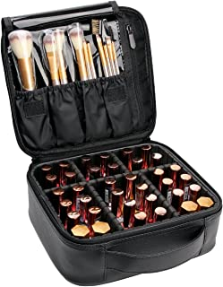 VASKER Makeup Case Travel Makeup bags Organizer for Women Cosmetic Bag Leather Make Up Bag with Adjustable Divider Storage Case for Women Girl