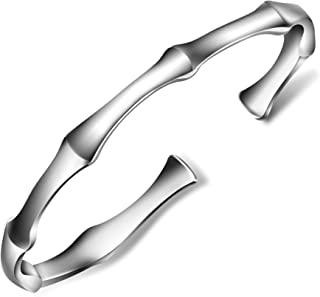 Women's 999 Sterling Silver Bangle Bracelet with Created Open Design About 16G