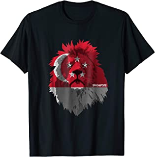 Soccer team Singapore national pride Lion Flag T shirt
