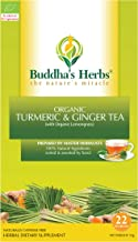 Buddha's Herbs Organic Turmeric, Ginger and Lemongrass Tea - Natural Immunity and Inflammation Support -22 Tea Bags (Pack ...