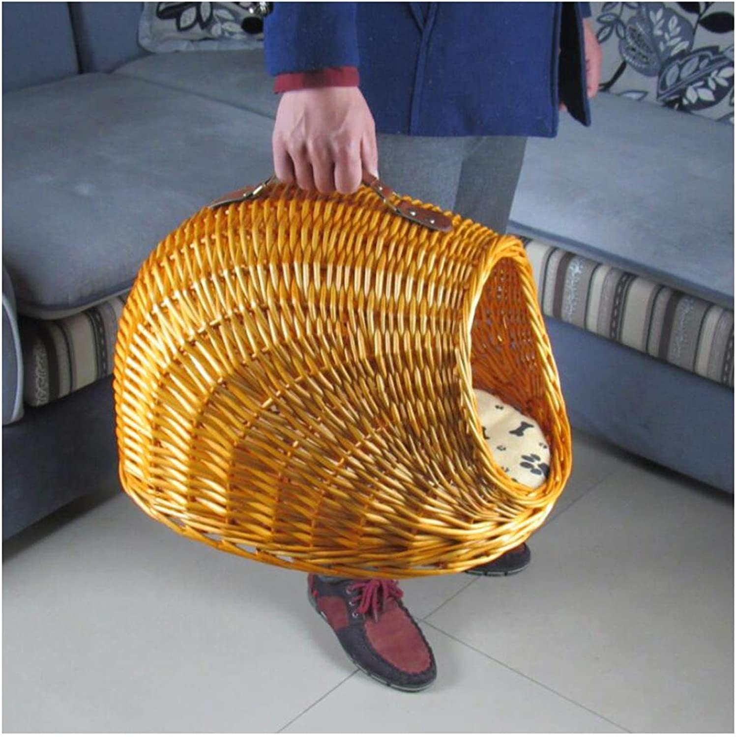Heruai Rattan Willow Pure Handmade Cat Lap Detachable Dog Bed House Summer Handmade Cat Small House Small Cage Cat Bed Ventilation