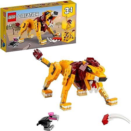 LEGO Creator 3 in 1 Leone Selvatico, Struzzo e Facocero, Animali Giocattolo per Bambini, 31112