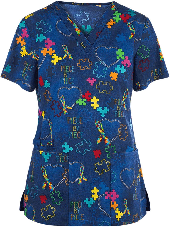 MASZONE Scrub_Top for Womens Floral Print V-Neck Working Uniform Short Sleeve T-Shirts Nurses_Tunic Workwear Tops