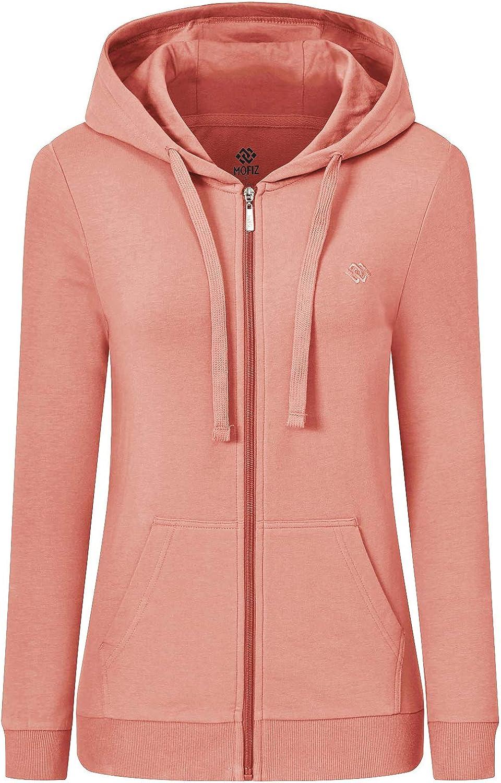 MoFiz Women's Cotton Hoodie Long Sleeve Sweatshirt Casual Full Z
