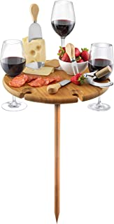 Bambusi Portable Picnic Board with Utensils - 100% Bamboo Outdoor Wine Table | Entertaining & Camping Cheese Board, Great Gift Idea