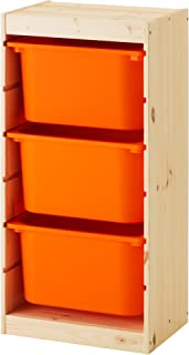 【IKEA/イケア】TROFAST 収納コンビネーション, パイン材, オレンジ