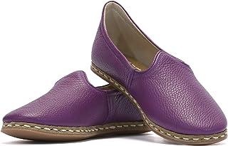 VellaPais Mor Fabio Cilt Zarif Ve Estetik Bayan Topuksuz Ayakkabı Hakiki Deri Yemeni
