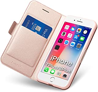 Aunote iPhone 7 Plus Case Wallet, iPhone 8 Plus Plus Case with Card Holder, Slim Flip Filio PU Leather iPhone 7 Plus Phone Case, Full Protective Cover 8 Plus Plus iPhone Case for Apple 5.5 inch Phone