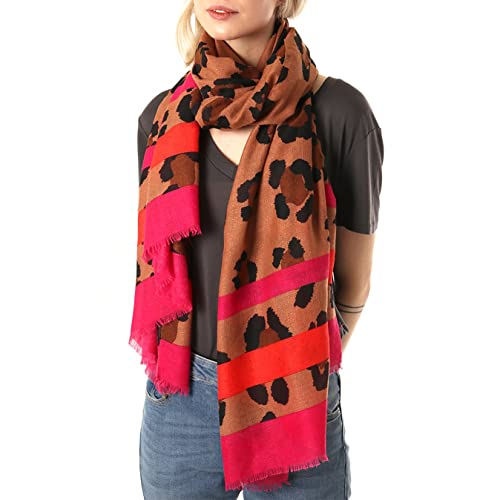 59a58d59ba0f8 Style Slice Leopard Print Scarf for Women with Fuchsia, Orange, Pink or Red  Border