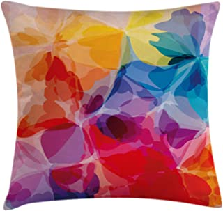 Ambesonne Floral Throw Pillow Cushion Cover, Vibrant Colors Abstract Creative Watercolor Style Flower Pattern Design, Decorative Square Accent Pillow Case, 20